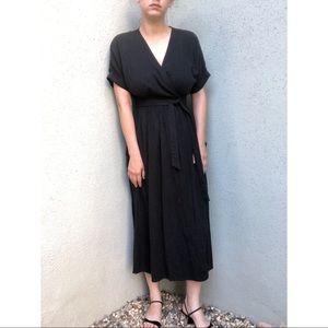 [uo] linen blend wrap midi dress